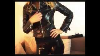 getlinkyoutube.com-Cute blonde in leather jacket, leather pants & gloves