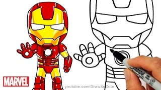 getlinkyoutube.com-How to Draw Iron Man step by step Chibi Marvel Superhero
