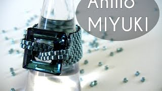 getlinkyoutube.com-Abalorios Manualidades - Anillo Miyuki con Swarovski Elements