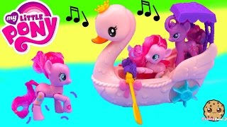 getlinkyoutube.com-My Little Pony Pinkie Pie Row & Ride Swan Boat Music Sound MLP Toy Unboxing Video Cookieswirlc