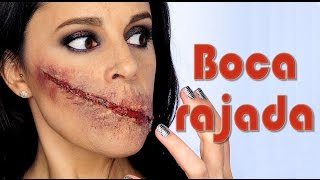 getlinkyoutube.com-Tutorial maquillaje corte sin boca Makeup FX #72   Silvia Quiros