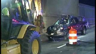 BOURNE, MA- Pickup Truck Plows Into Backhoe- Sagamore Bridge (09-15-09)