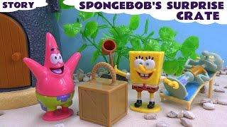 getlinkyoutube.com-Funny Prank Spongebob Squarepants Story Play Doh Surprise Crate Episode Nickelodeon Toy Unboxing