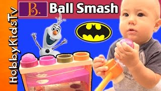 HobbyGator Whacky Ball SURPRISE Toy SMASH! Frozen Olaf Batman + Counting by HobbyKidsTV