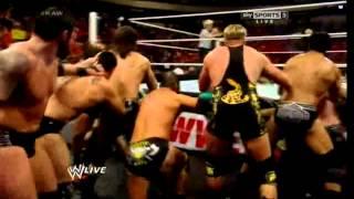 getlinkyoutube.com-WWE RAW 4/14/14 - (11-on-3 Handicap Tag Team Match)