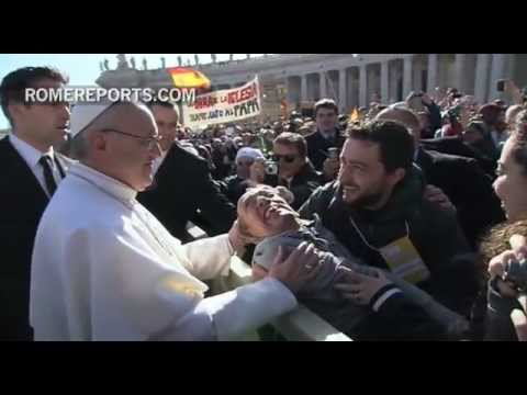 Festive atmosphere takes over St  Peter's Square as pilgrims welcome the Pope
