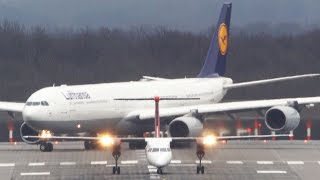 getlinkyoutube.com-Dash 8 vs. Airbus A340-600 - Get OUT of my WAY - Lufthansa Airbus A340-600 Departure