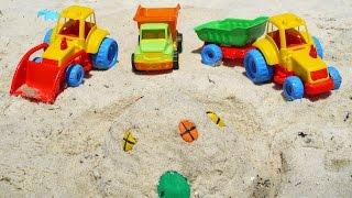 getlinkyoutube.com-Мультфильмы про Рабочие Машины на пляже - строим песочный замок