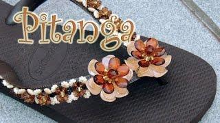 getlinkyoutube.com-Chinelo decorado - Flor de pitanguinha