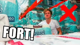 TOILET PAPER FORT DARES! (KICKED OUT!)