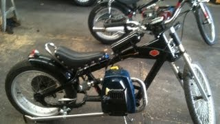 getlinkyoutube.com-schwinn stingray chopper bike rat rod with victa lawn mower 125cc engine very fast