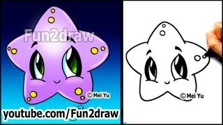getlinkyoutube.com-Easy Drawing Tutorials - How to Draw a Cute Starfish (Cartoon Art Lesson)
