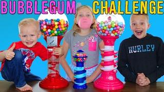 getlinkyoutube.com-Bubble Gum Challenge || Giant & Tiny Dubble Bubble Gumball Machines