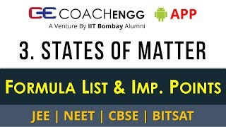States of Matter – Formula List and Important Points for Revision - JEE CBSE NEET - by Rohit Dahiya