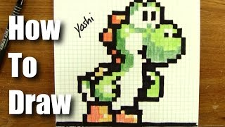 getlinkyoutube.com-How To Draw Pixel Art Yoshi From Mario! - Step By Step - 16 Bit not 8-bit