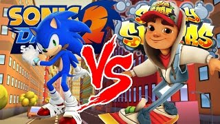 getlinkyoutube.com-Sonic Dash 2: Sonic Boom VS. Subway Surfers