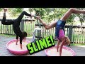 REBECCA AND ANNIE DO HANDSTANDS IN GIANT SLIME! DAY 248 GYMNASTICS CHALLENGE IRL