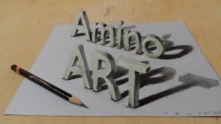 getlinkyoutube.com-Draw a 3D Art Amino, Magic Letters, Optical Illusion