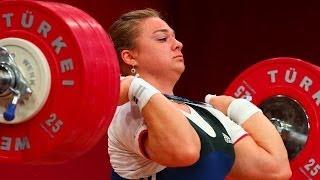 getlinkyoutube.com-UNBELIVABLE !!!  Tatyana Kashirina New World Record 190 kg / 419 lbs Clean & Jerk, Poland 2013