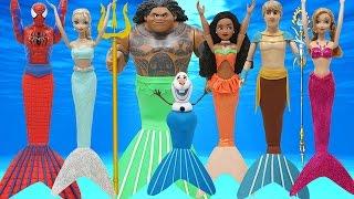 "getlinkyoutube.com-Play Doh ""Moana""  Maui Spiderman Elsa Anna Kristoff OLAF ""Frozen"" in Mermaids Costumes"