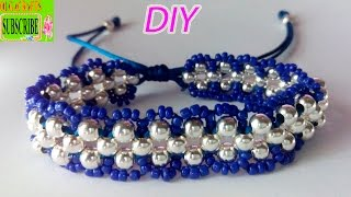 getlinkyoutube.com-How to make bracelets with beads and string or thread tutorial diy chaquira beads and satin rattail