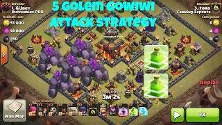 getlinkyoutube.com-Clash Of Clans - New  5 Golem + 2 Jump Spell Gowiwi Attack Strategy - Destroy Max Th 9,10