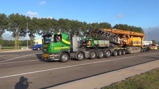 getlinkyoutube.com-Scania R V8 Zwatra 10x4 Heavy Haulage Truck, Nooteboom Pendel X Trailer