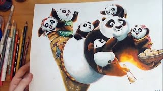 getlinkyoutube.com-Drawing Po(Kung Fu Panda 3) 쿵푸팬더3 포 그림 그리기