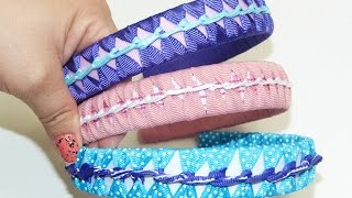 getlinkyoutube.com-Tutorial Diademas forradas en cinta gros varios colores paso a paso