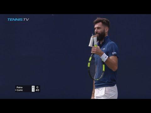 FUNNY: Benoit Paire`s racquet handle snaps! | Dubai 2018