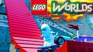 getlinkyoutube.com-LEGO Worlds MEGA RAMP STUNTS! Skatepark Build! - LEGO Land #15 (LEGO Worlds Gameplay)