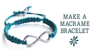 getlinkyoutube.com-Make a knotted macrame friendship bracelet - jewelry making tutorial