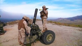 getlinkyoutube.com-Artillery Marine M-327 Towed Rifle Mortar Weapon Live Fire