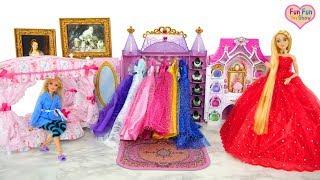 Princess Barbie Rapunzel Bedroom Morning Dress up Putri boneka Barbie Kamar Tidur Princesa Quarto width=