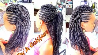 getlinkyoutube.com-Tutorial : Mohawk / Faux hawk style - Ghana cornrows & Havana twist