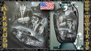 """getlinkyoutube.com-Airbrush by Wow No.665 """"Black & White Portraits : Blues Brothers"""" with english commentary HD"""