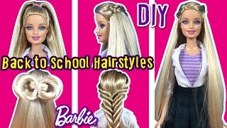 getlinkyoutube.com-Back To School Hairstyles of Barbie Doll - DIY Barbie Hair Tutorial - Making Kids Toys