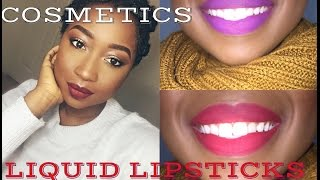 getlinkyoutube.com-*NEW**BH COSMETICS LIQUID LIPSTICKS SWATCH **DARK SKIN TONE