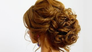 getlinkyoutube.com-Hairstyle for long hair. Wedding prom updo