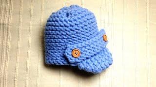 getlinkyoutube.com-How to Loom Knit a Baby Visor Hat (DIY Tutorial)