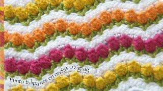 getlinkyoutube.com-Campo de tulipanes tejidos a crochet o punto tulipanes en  ondas zigzag... incluye diagrama!