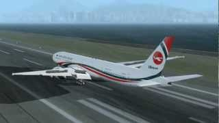 getlinkyoutube.com-Biman Bangladesh Airlines Boeing 777-3E9/ER landing at Kai Tak Airport