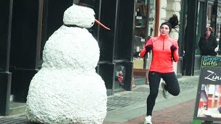 Страшный снеговик. Розыгрыш