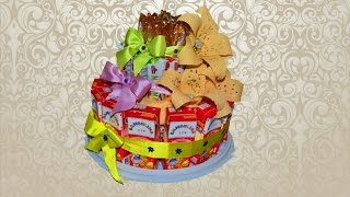 getlinkyoutube.com-Тортик для ребенка из пакетов с соком, мюсли и леденцами, украшенный цветами.