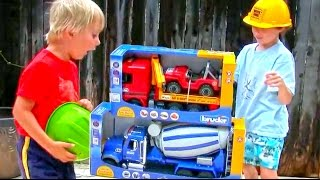 getlinkyoutube.com-Toy Truck Videos for Children - Toy Bruder Mack Cement Mixer and MB Actros Tow Truck with Jeep