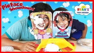 getlinkyoutube.com-PIE FACE SHOWDOWN CHALLENGE NEW Whipped Cream in the face Family Fun game for Kids Egg Surprise Toys