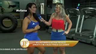 getlinkyoutube.com-tv fama Fani Pacheco aceita desafio da musa fitness Sue Lasmar 2015 mircmirc