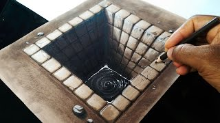getlinkyoutube.com-Drawing a Brick Hole  - 3D illusion
