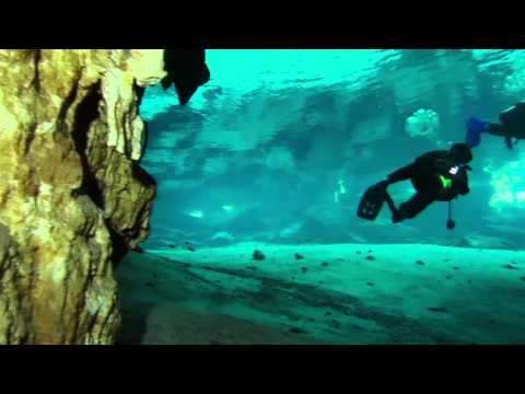 Under the Mayan cenote, Dos Ojos, Yucatan, Mexico cave diving video, s95 Ikelite 2800, gopro HD
