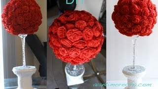getlinkyoutube.com-DIY Paper Rose Topiary / Topario de Rosas de Papel